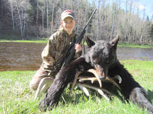 Taylors bear, shot from treestand with her grandmother